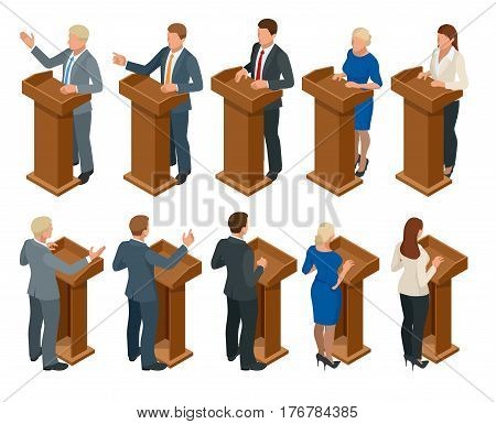 Isometric public orator speaking from tribune. Business manager making public presentation speech at tribune with microphone. People isolated on white, vector illustration.