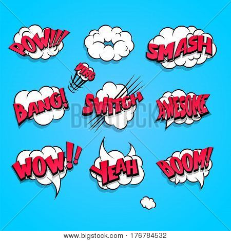 Set cartoon abstract creative hand drawn vector colored cloud bubble with comic text. Speech balloon pop art style. Comic book burst elements, text dialog explosion boom, bang, pow, smash.