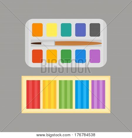 Multicolor watercolour paint box and plasticine vector illustration drawing container education school and hobby tool creativity colorful palette equipment. Hand drawn signs for creation game.