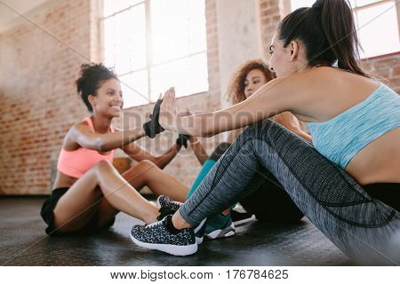Group Of Female Exercising In Gym