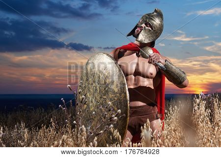 Courageous warrior in helmet showing to enemy of gesturing of dead holding weapon near neck. Soldier in iron armor and red cloak with shield going in attack on war at field. Dark sky over field.