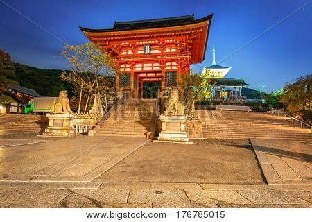 KYOTO, JAPAN - NOVEMBER 9, 2016: Autumnal Kiyomizu-Dera Buddhist temple in Kyoto, Japan. Kiyomizu-dera built in 1633, is one of the most famous landmark of Kyoto with UNESCO World Heritage