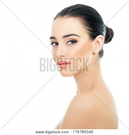 Beautiful Young Woman Over White Background. Beauty Female Portrait. Antiaging, Skincare, Beauty Treatment. Healthcare Concept.