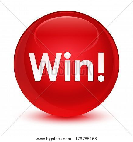 Win Glassy Red Round Button