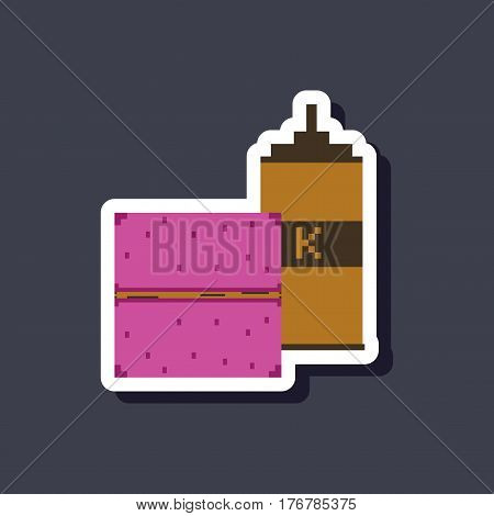 paper sticker on stylish background burger and ketchup