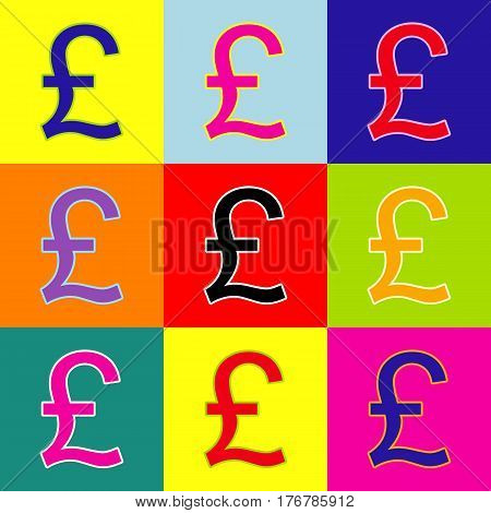 Turkish lira sign. Vector. Pop-art style colorful icons set with 3 colors.