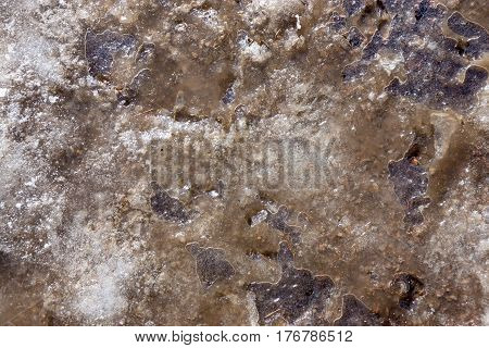 abstract natural background of texture of the frozen dirty water in a puddle