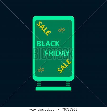 Flat icon of signboard black friday business