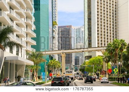 Busy Downtown Miami