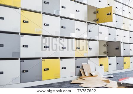 Files fallen in locker room at creative office