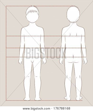 Vector illustration of child's body proportions and measurements for clothing design and sewing. Front and back views