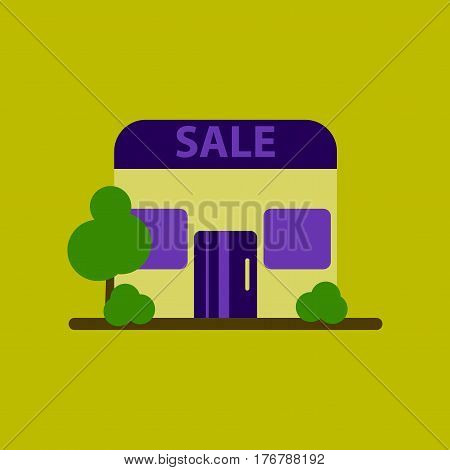 Flat icon of Shop sale business store