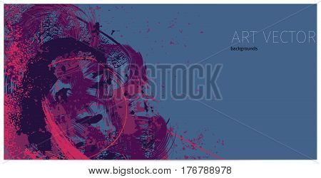 purple artistic neo-grunge style abstract backgrounds made with hand drawn textures and brushes
