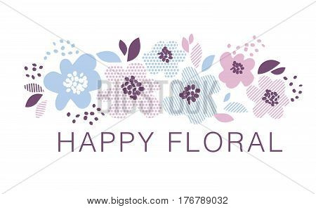 Blue and rosy color decorative floral element in geometry style. Spring flower surface design for card, invitation, wedding decoration, print.