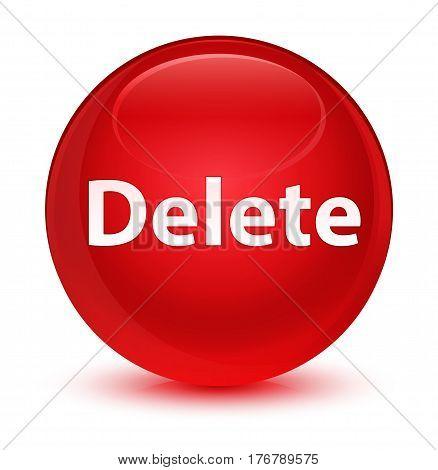 Delete Glassy Red Round Button