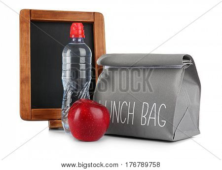 Modern lunch bag and blackboard on white background