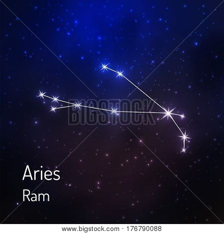 Aries ram constellation in the night starry sky. Vector illustration