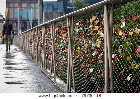 GRAZ, AUSTRIA -  JUNE 04: Love lockers at bridge in Graz view on June 04, 2016 in Graz, Austria.