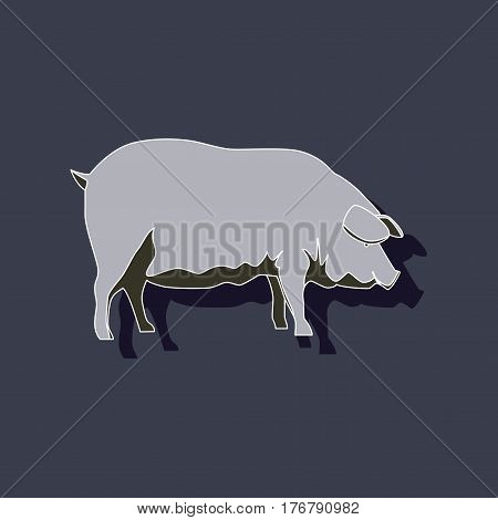 paper sticker on stylish background pig animal