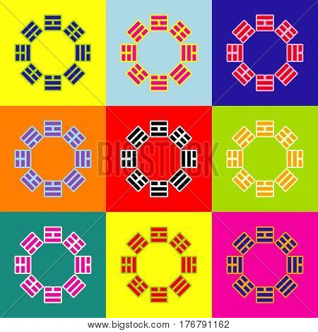 Bagua sign. Vector. Pop-art style colorful icons set with 3 colors.