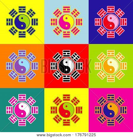 Yin and yang sign with bagua arrangement. Vector. Pop-art style colorful icons set with 3 colors.