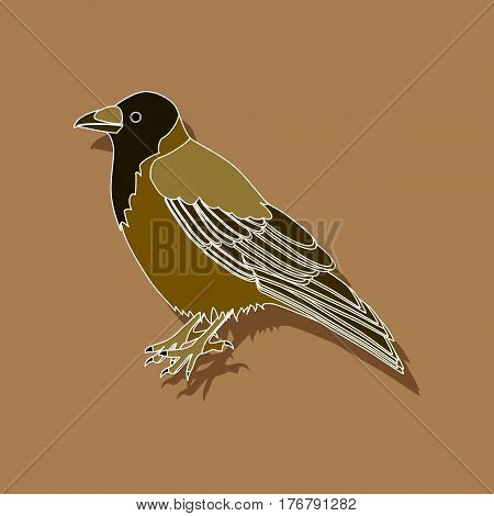 raven paper sticker on stylish background bird