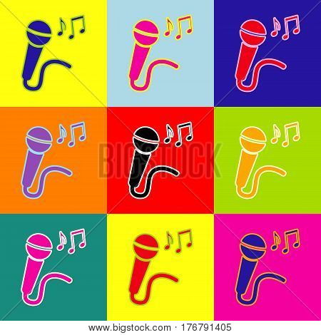 Microphone sign with music notes. Vector. Pop-art style colorful icons set with 3 colors.