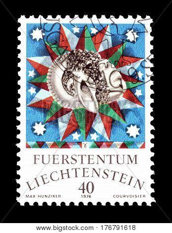 LIECHTENSTEIN - CIRCA 1976 : Cancelled postage stamp printed by Liechtenstein, that shows Aries.