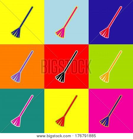 Sweeping broom sign. Vector. Pop-art style colorful icons set with 3 colors.