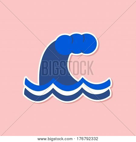 paper sticker on stylish background nature tsunami danger