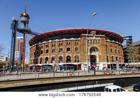Barcelona Spain - March 17 2017: Arenas de Barcelona the former bullring of the Arenas which was a bullring in Barcelona Spain.