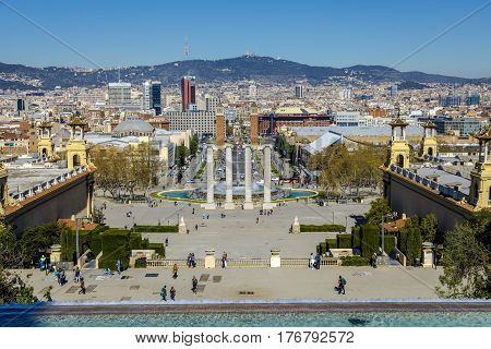 Barcelona Spain - March 17 2017: view of the capital of Catalonia Barcelona from Montjuic one of the most touristic landmarks in the city