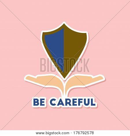 paper sticker on stylish background nature be careful hand shield