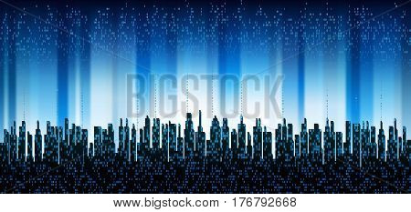 The city online. Abstract futuristic digital city, cloud connected, skyline background