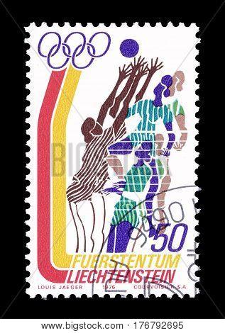 LIECHTENSTEIN - CIRCA 1976 : Cancelled postage stamp printed by Liechtenstein, that shows Volleyball.