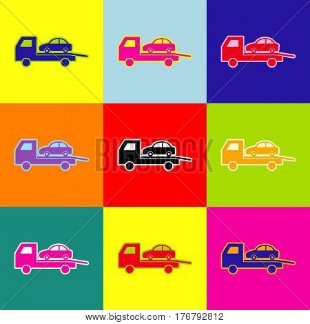 Tow car evacuation sign. Vector. Pop-art style colorful icons set with 3 colors.