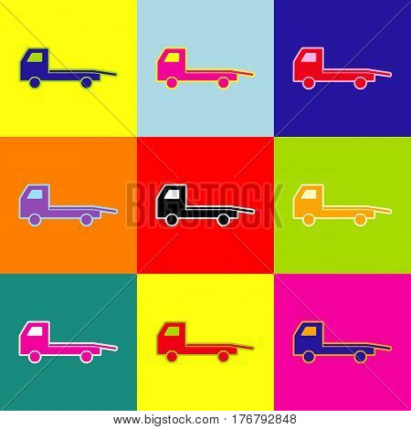 Service of evacuation sign. Wrecking car side. Car evacuator. Vehicle towing. Vector. Pop-art style colorful icons set with 3 colors.