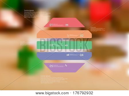 Illustration infographic template with motif of octagon horizontally divided to five color standalone sections. Blurred photo with financial motif with coins and money is used as background.