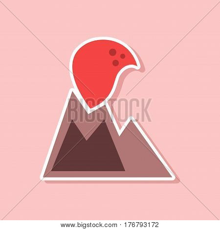 paper sticker on stylish background nature volcano erupting