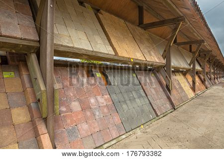 Decorative Paving Stone Collection At A Nursery Garden Market