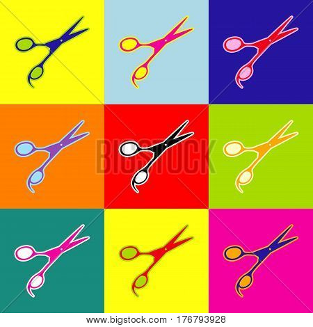 Hair cutting scissors sign. Vector. Pop-art style colorful icons set with 3 colors.