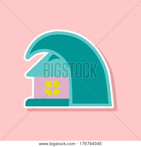 paper sticker on stylish background tsunami house