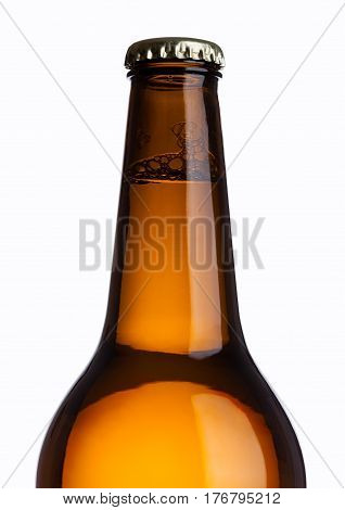 Brown Glass Beer Bottle With Yellow Cap Isolated