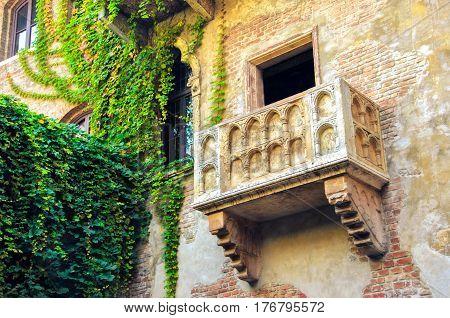 The original Romeo and Juliet balcony located in Verona Italy