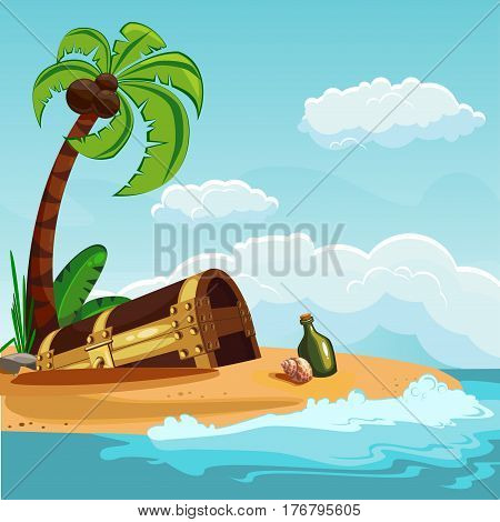 A treasure chest buried on an island with a palm tree. Vector illustration.