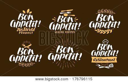 Bon appetit. Restaurant, label set Lettering vector illustration