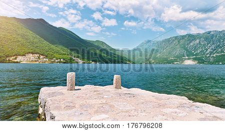 Wildlife on stones of orthodox church Island Gospa od Skrpjela Perast Boka Kotorska Montenegro.