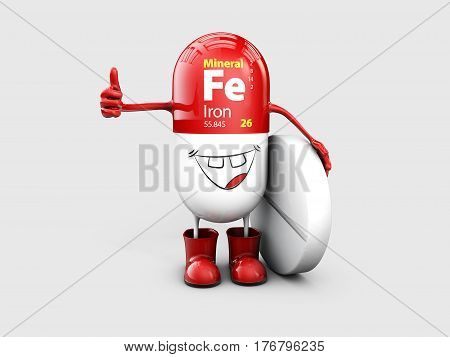 Mineral Fe Ferum shining pill cartoon capsule icon, 3d illustration