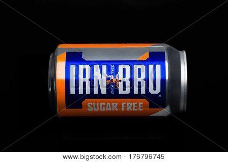 London, Uk - March 15, 2017: Can Of Sugar Free Irn-bru Lemonade Soda Drink On Black. Produced By Bar