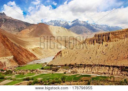 View of the mountain gorge Kali Gandak. Nepal. The Himalayan mountains.